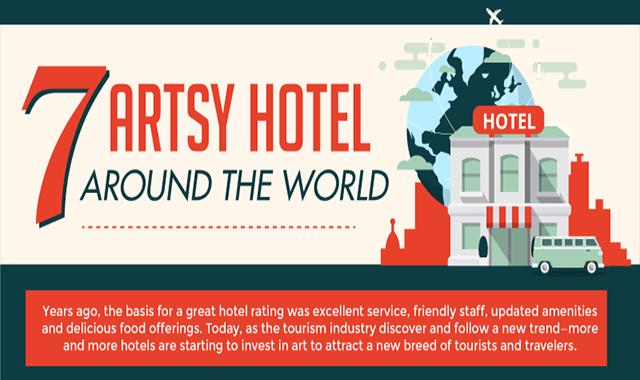 7 Artsy Hotels Worldwide  #infographic