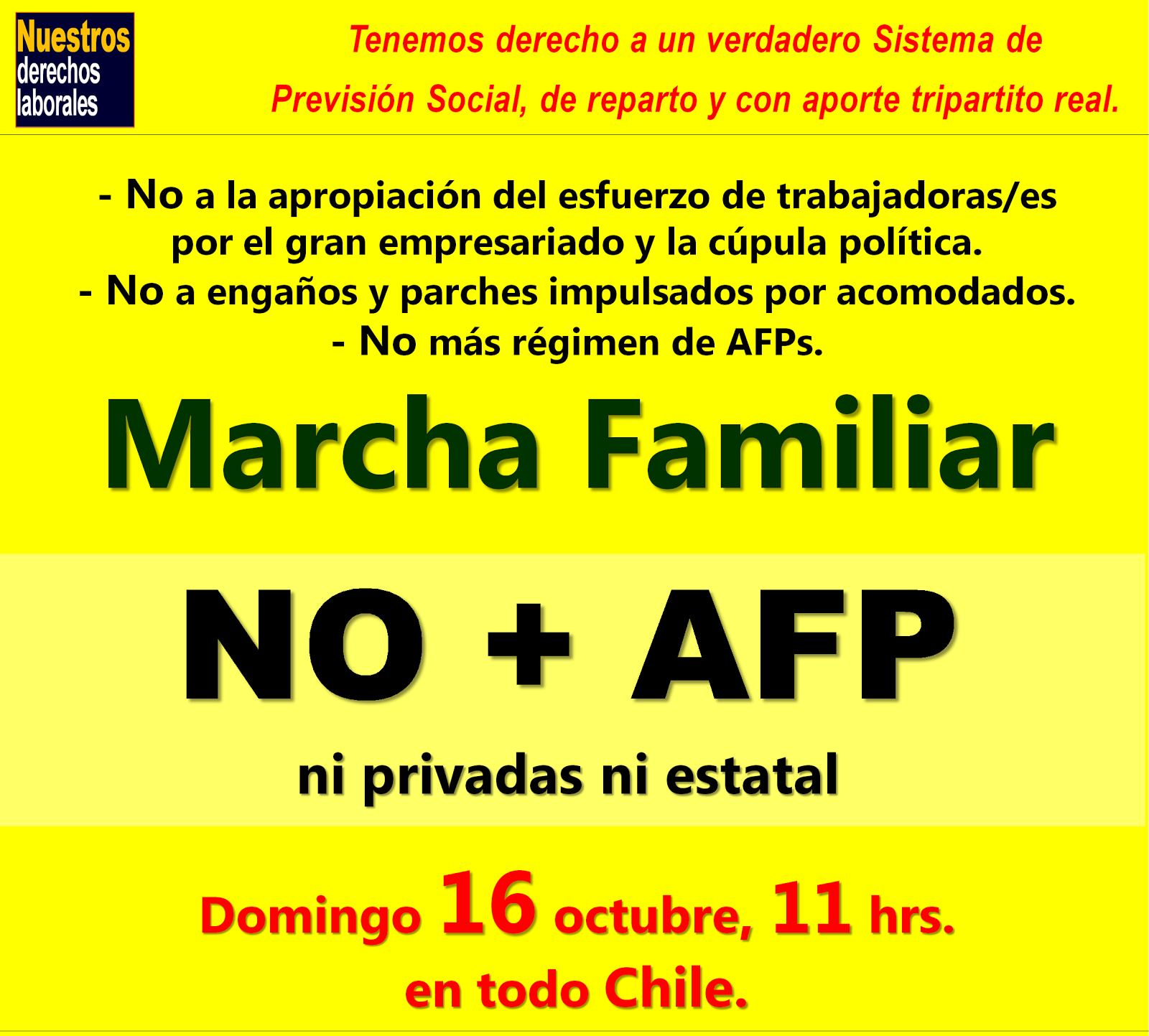 No más AFP, ni privadas ni estatal.