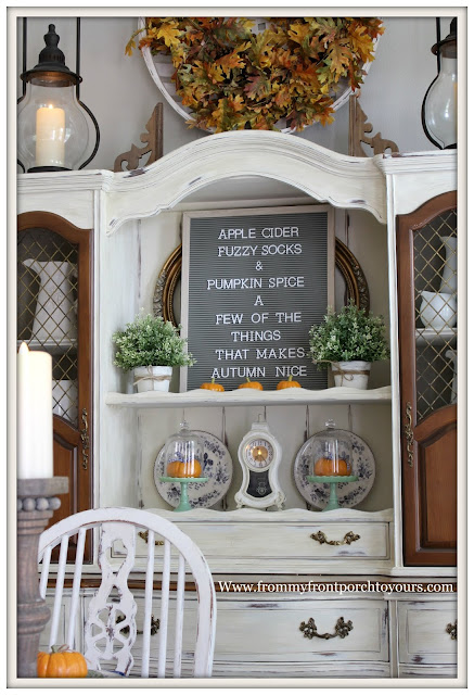French Country Farmhouse Fall Dining Room-French Country Hutch-Chalk Paint-DIY-From My Front Porch To Yours