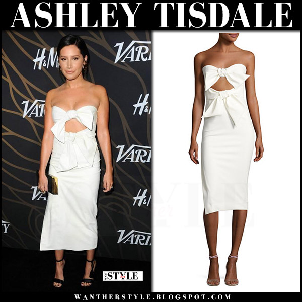 Ashley Tisdale in white strapless sweetheart midi dress milly mackenzie what she wore variety'y event 2017