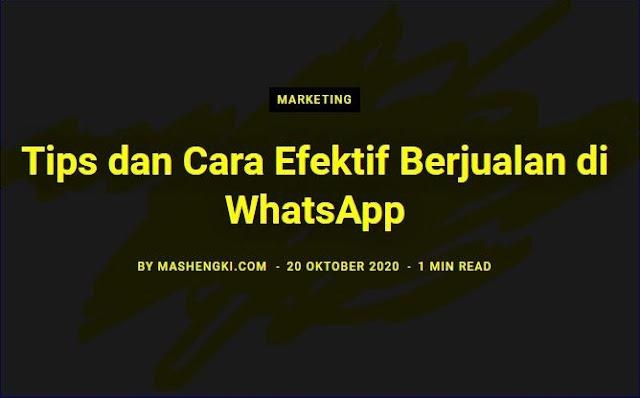 Cara Efektif Berjualan di WhatsApp