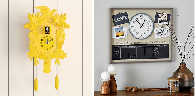 A yellow cuckoo clock and a clock on a notice board