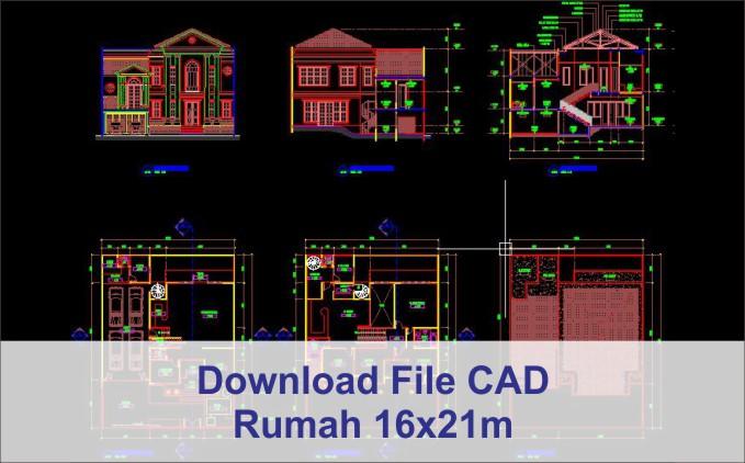 download rumah 16x21 File AutoCad