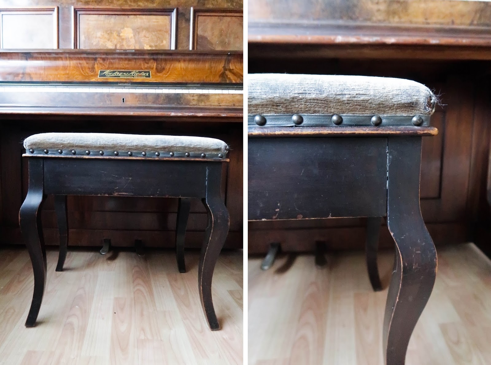 Upcycled piano stool DIY