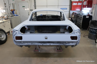 Body work is almost complete on the early production 1965 GT350 Shelby build.