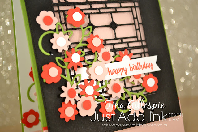 scissorspapercard, Stampin' Up!, Just Add Ink, Picture Perfect Birthday, Bitty Blooms Punch Pack, Stained Glass Thinlits, Well Written Thinlits, Subtle DTIEF