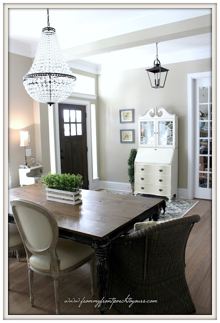 Farmhouse Foyer- Pottery Barn Mia Chandelier-Carriage House Lantern Pendant Light-From My Front Porch To Yours