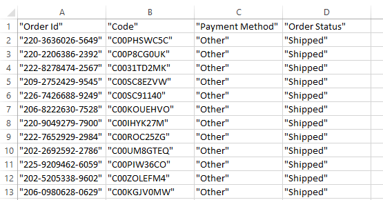 CSV file with quotes around values