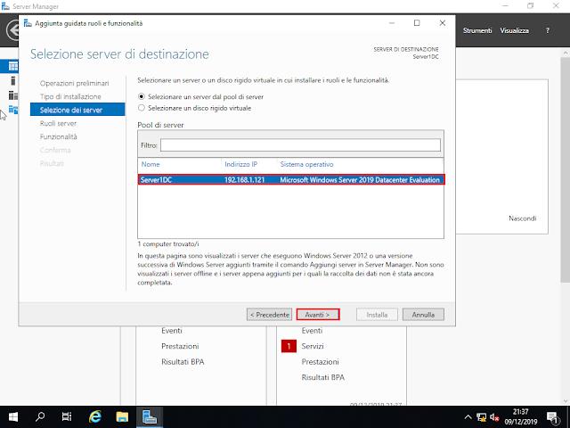 Windows Server 2019, Selezione server di destinazione