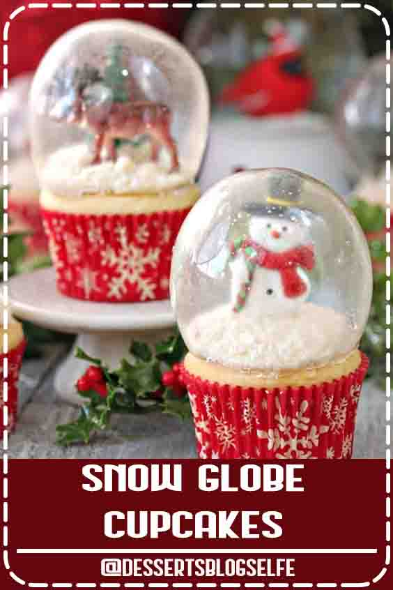These gorgeous Snow Globe Cupcakes are topped with edible gelatin bubbles. That's right–you can eat both the cupcakes AND the globe! They look so amazing and impressive, and are perfect for the holidays! Snow Globe Cupcakes - the BEST Christmas cupcakes! Made with gelatin bubbles, so the entire cupcake is edible! | From SugarHero.com #DessertsBlogSelfe #sugarhero #snowglobecupcakes #christmascupcakes #DessertsforParties #christmas #creamcheeses