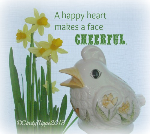 Happy Heart Bible Verse, Daffodils, Ceramic Bird, Yellow Flowers, Florals, Family, Faith, Cindy Rippe