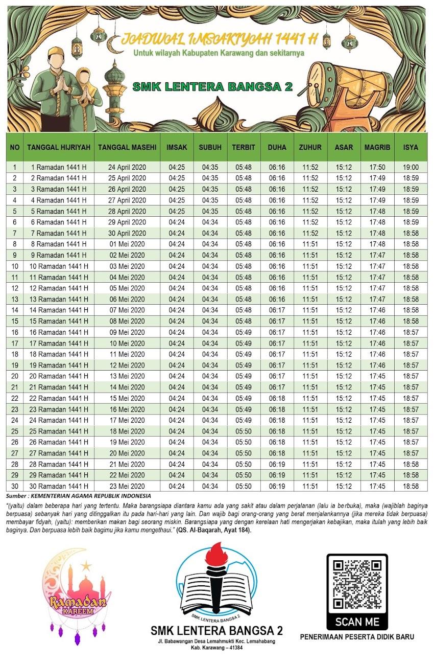Jadwal Imsakiyah 1441 H Wilayah Karawang dan Sekitarnya