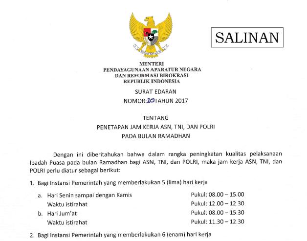 SE Menpadn RAB Tentang Jam Kerja ASN TNI POLRI Pada Bulan Ramadhan