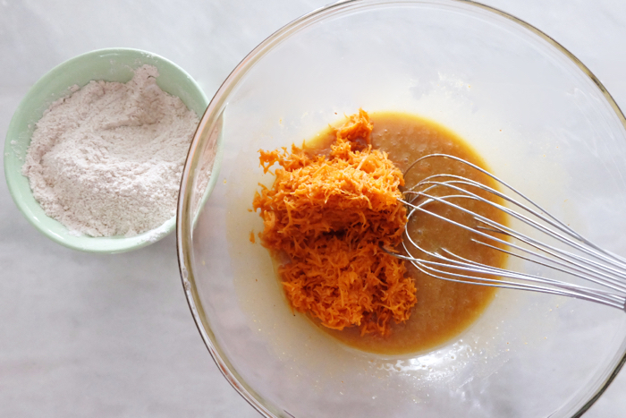 adding carrots to wet ingredients