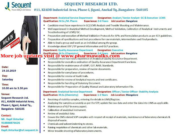 Sequent Research Ltd - Walk-in interview for Analytical Service Department & QA on 19th October, 2019