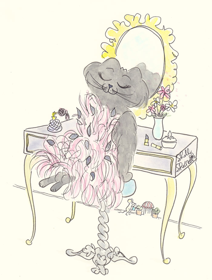 Ella Catwalk Kitty in Pink Feathered Flock Frock  © Shell Sherree all rights reserved
