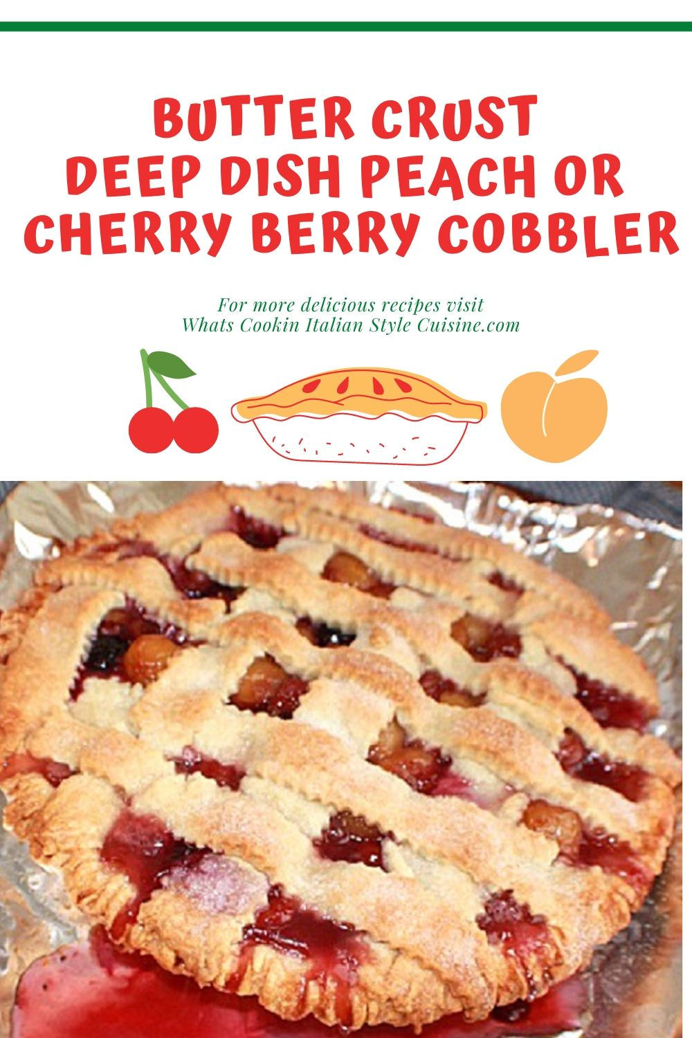 this is a southern style double crusted pie cobbler with peaches or cherries