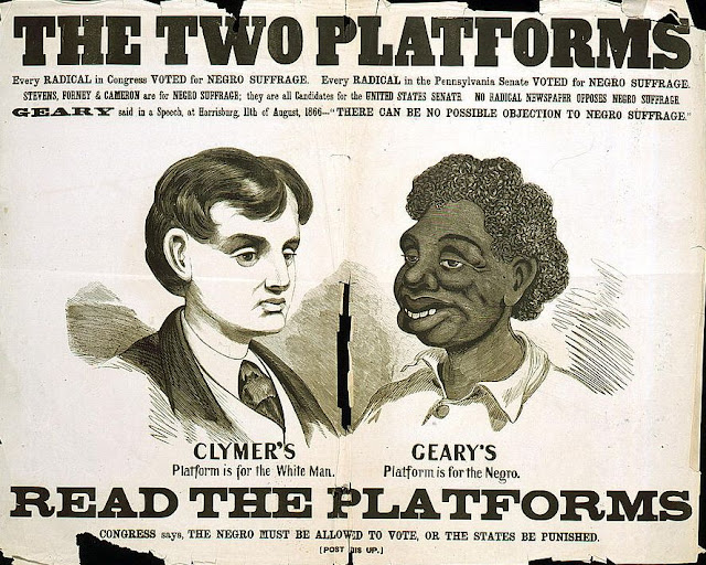 The two platforms: every radical in Congress voted for Negro suffrage, Geary said in a speech there can be no possible objection to Negro suffrage