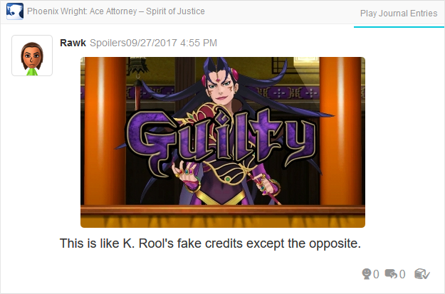 Phoenix Wright Ace Attorney Spirit of Justice Ga'ran fake purple GUILTY