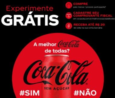 Cadastrar Coca-Cola 2021 Experimente Grátis Sem Açúcar