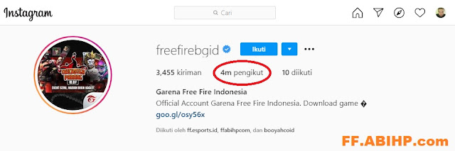Detik-detik Kode Redeem 4M Follower @freefirebgid