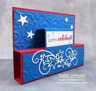 A Stand-up Fancy Fold card. Patriotic red, white and blue card for 4th of July using Stampin Up's Stitched Stars dies