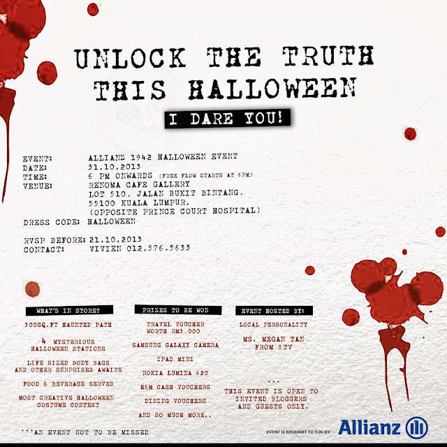 The invitation to the Allianz 1942 Halloween Event
