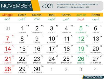 Template Kalender 2021 Nopember
