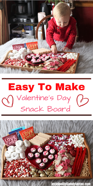 An Easy To Make Valentine's Day Snack Board featuring LOVE CORN
