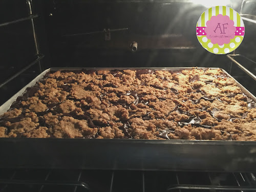Chocolate Revel Bars in Oven