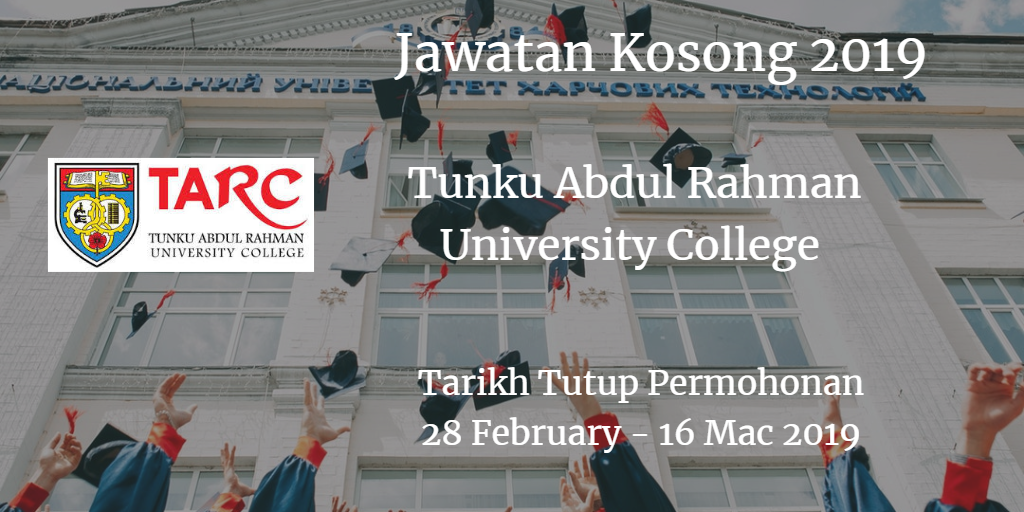 Jawatan Kosong TARUC 28 February - 16 March 2019