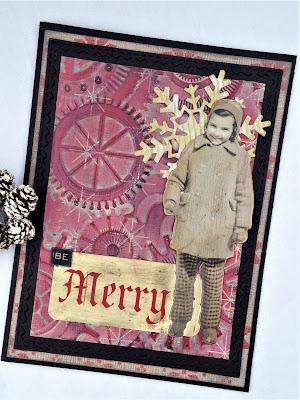 Sara Emily Barker http://sarascloset1.blogspot.com/ Be Merry Christmas card Tim Holtz 3D embossing 5