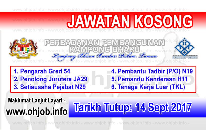 Jawatan Kerja Kosong Perbadanan Pembangunan Kampong Bharu - PKB logo www.ohjob.info september 2017