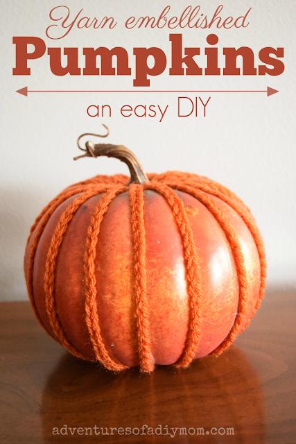 yarn embellished pumpkin