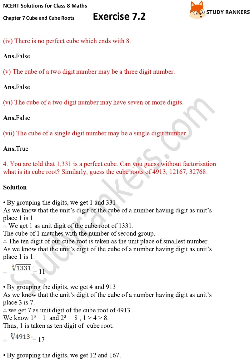 NCERT Solutions for Class 8 Maths Ch 7 Cube and Cube Roots Exercise 7.2 4