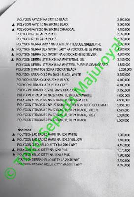 Daftar Harga Sepeda Polygon Blizzard Cleo Heist Monarch Path Pave Premier Rapid Rayz Relic Siera Stratos Urbano Xtrada Impression sebelum Discount lo