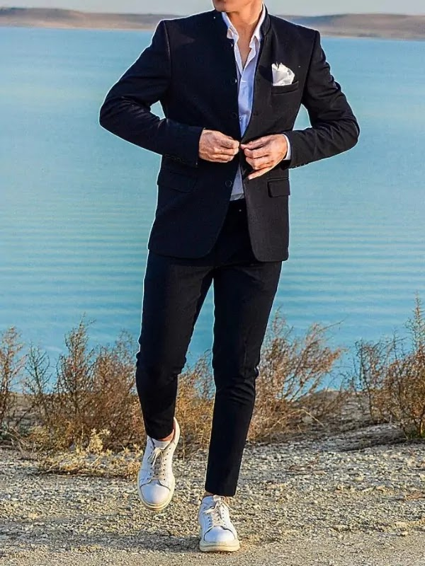 Suits with sneakers