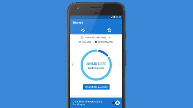 The Google's Triangle also allow users to check their data balance, and manage it by time choosing between 30 minutes only, 10 minutes or 'Always'