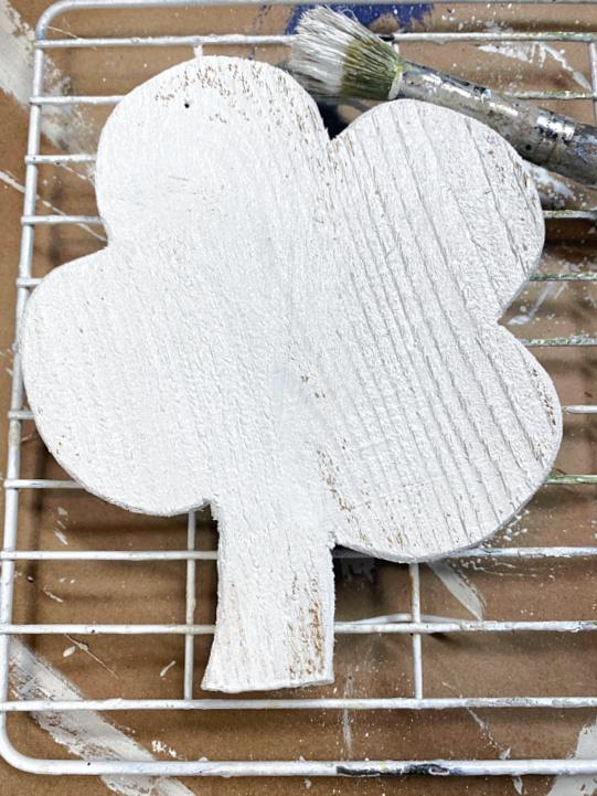 white painted wooden shamrock