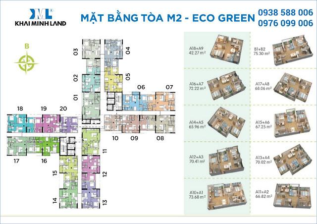Mặt bằng căn hộ tòa tháp M2 dự án Eco Green Sài Gòn quận 7.