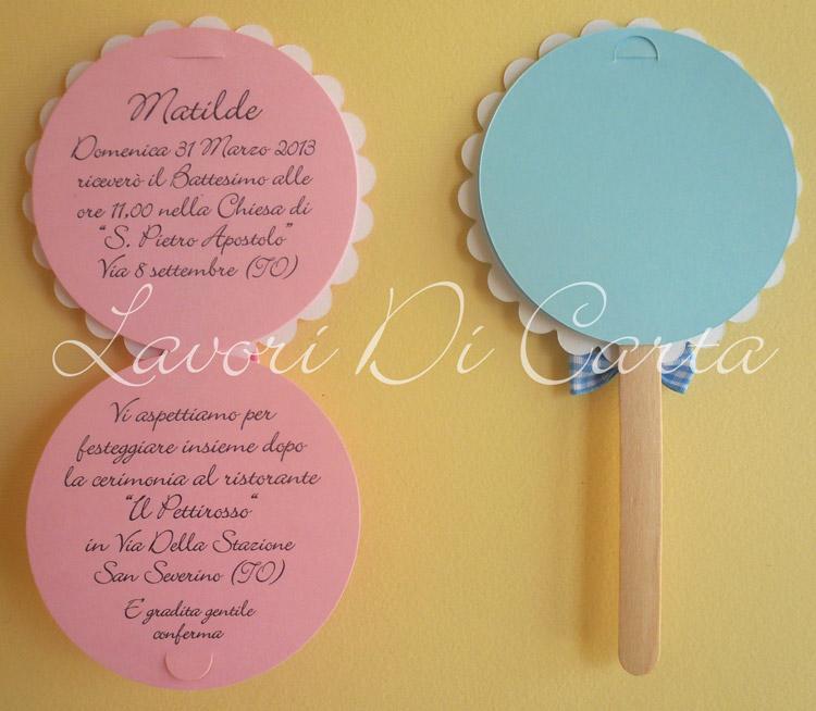 Lavori Di Carta Blog: Partecipazioni Battesimo Lollipop con Castello e ...