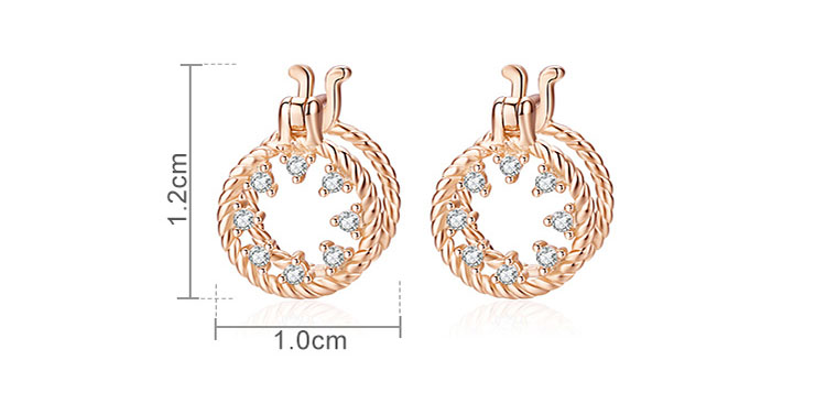 鏤空圓圓鋯石 925純銀耳環