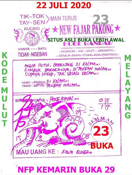 New Fajar Pakong Rabu 22 Juli 2020