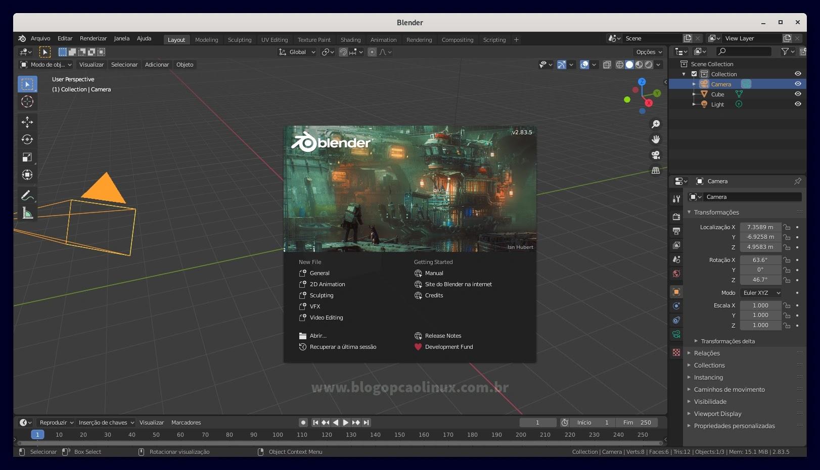 Blender executando no Debian 11 Bullseye