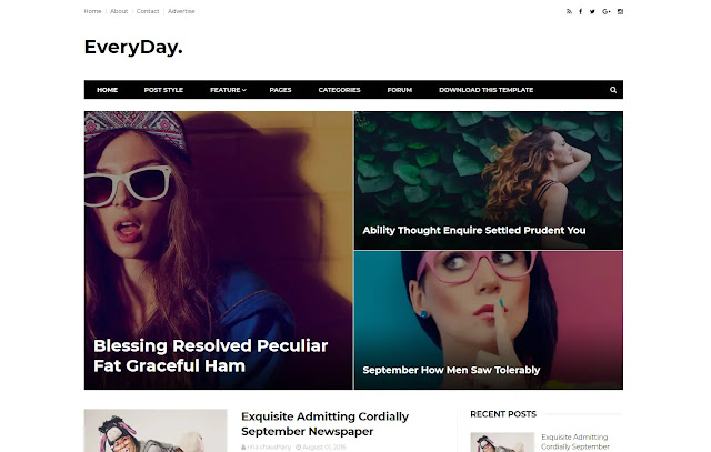 Everyday Responsive Personal Blog Tutorial Clean Blogger Template Theme