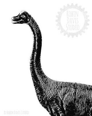 Black and White Dinosaur Printables by Robin Davis Studio