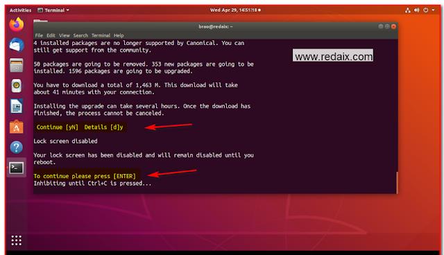 linux ubuntu continue y or n
