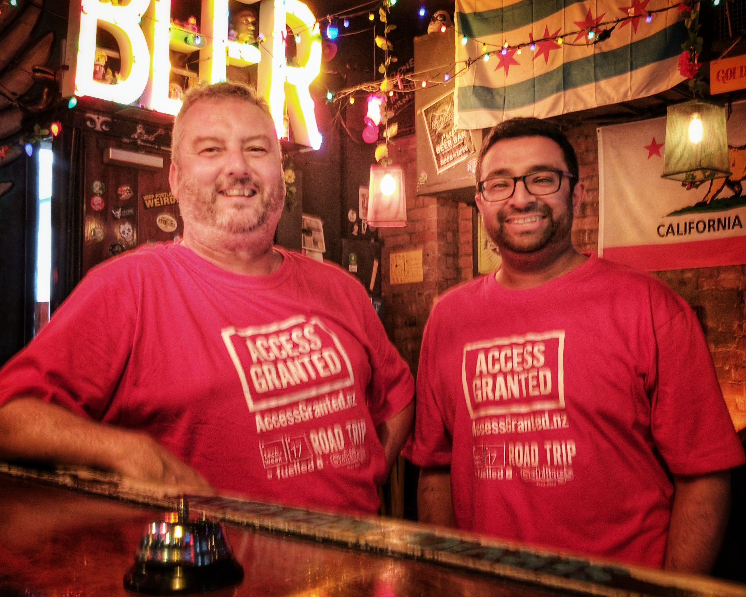 Mike and Raj of the Access Granted podcast at Golding's Free Dive at the end of their Techweek 2017 road trip