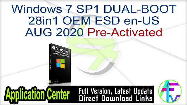 Windows 7 SP1 DUAL-BOOT 28in1 OEM ESD en-US AUG 2020 Pre-Activated