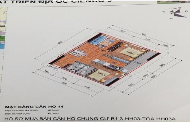 Sơ đồ thiết kế căn hộ 14 chung cư B1.3 HH03A Thanh Hà Cienco 5